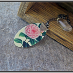 VINTAGE ROSE, SUBLIMATION GRAPHIC PRINTED STERLING SILVER NECKLACE
