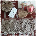 Crochet Coasters. Set of 4 (Dark Cream)
