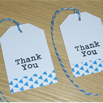Set 12 Thank you tags - blue triangles