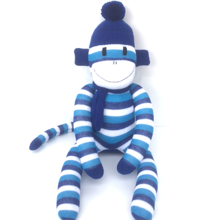 'Jack' the Sock Monkey - two tone blue and white stripes - *READY TO POST*