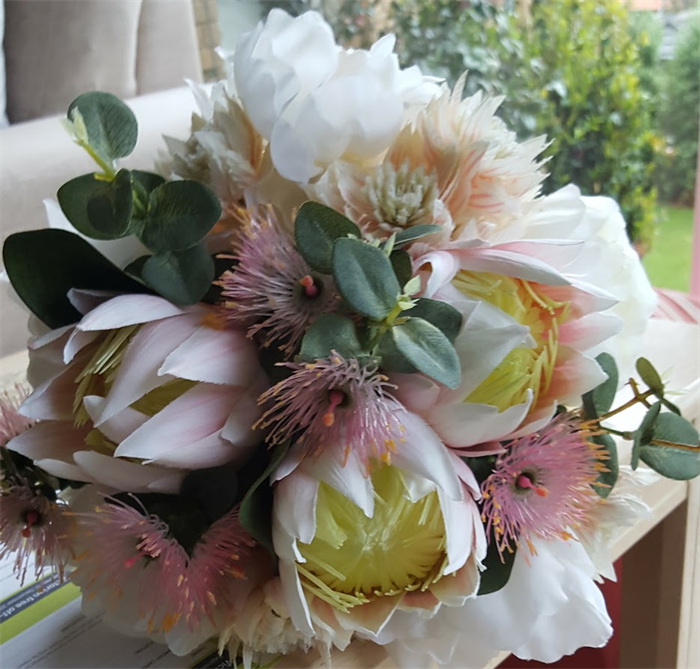 Australian Native Bridal Bouquet with Ivory Peonies & Pink Native ...