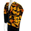 Ginko leaf print silk scarf. Orange yellow tonings on black.