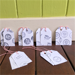 Hand Stamped Gift Tags, Mixed Gift Tag Set, Gift Wrapping, Bakers Twine