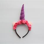 Unicorn Felt Rose Headband: Pink and dark pink roses. #102