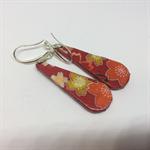 Teardrop RED FLOWERS Earrings - FREE POSTAGE