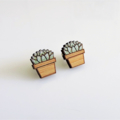 Potted Succulent Wooden Earring Stud
