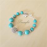 SALE 20% OFF -Turquoise Blue Bracelet - Blue Gemstone - Adjustable Length - B002
