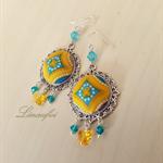 SALE 40% - Earring - Swarovski - Sterling Silver -Fabric - Yellow Blue -E009