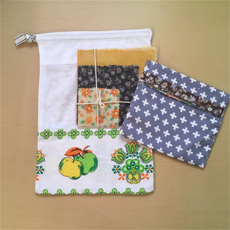 Sustainable Kitchen Starter Kit - 3 beeswax wraps, mesh produce bag, snack pouch
