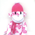 'Penny' the Sock Monkey - white with pink bows - *READY TO POST*