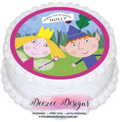 Ben & Holly Personalised Round Edible Icing Cake Topper - PRE-CUT