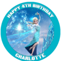 Frozen Elsa Personalised Round Edible Icing Cake Topper - PRE-CUT
