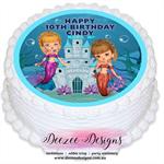 Mermaid Personalised Round Edible Icing Cake Topper - PRE-CUT