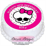 Monster High Skull Personalised Round Edible Icing Cake Topper - PRE-CUT
