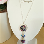 Batik Necklace - Batik Jewellery - Swarovski - Multicolour - N008