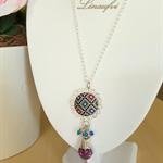 Batik Necklace - Batik Pendant - Batik Jewellery - Multicolour - Swarovski
