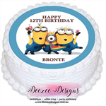 Minion Personalised Round Edible Icing Cake Topper - PRE-CUT