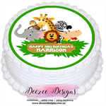 Jungle Animal Safari Personalised Round Edible Icing Cake Topper - PRE-CUT