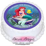 Ariel Little Mermaid Personalised Round Edible Icing Cake Topper - PRE-CUT