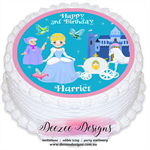 Cinderella Personalised Round Edible Icing Cake Topper - PRE-CUT