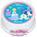 Cinderella Round Edible Icing Cake Topper - PRE-CUT