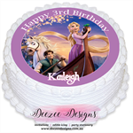 Tangled Rapunzel Personalised Round Edible Icing Cake Topper - PRE-CUT