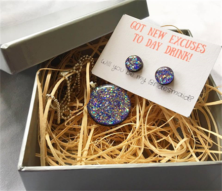 New excuses to day drink- Earring & Necklace Gift Box