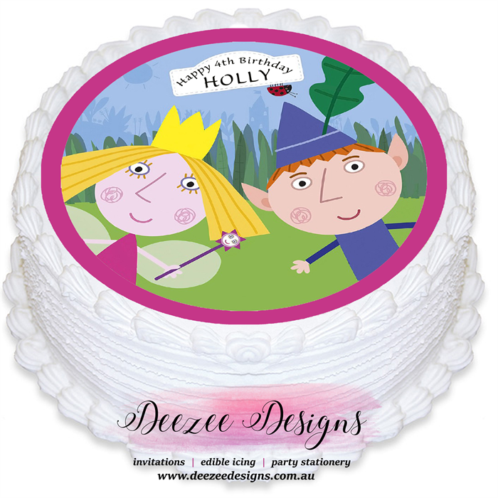 Ben & Holly Personalised Round Edible Icing Cake Topper - PRE-CUT ...