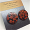 Black with Red Flowers Circle Earrings FREE POSTAGE