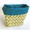 Yellow Blue Tulip Fabric Storage Basket - Large