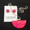 Necklace & Earrings Set - Raspberry Truffle (half moon)