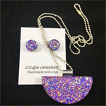 Necklace & Earrings Set - Glitzy Lilac (half moon)