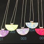 Glitter Necklace Half Moon