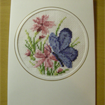 Butterfly Card Completed Cross Stitch