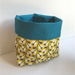 Yellow Blue Tulip Fabric Storage Basket - Medium