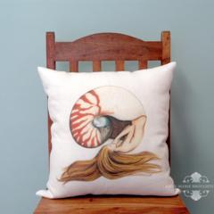 Mermaid Cushion Cover Large 50X50cm Nautilus Shell Mermaid White Linen