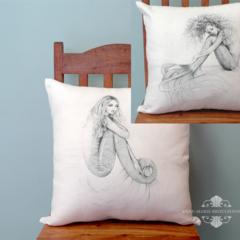 2 Mermaid Cushion Covers Large 50X50cm Tranquil & Daydreamer Mermaid White Linen