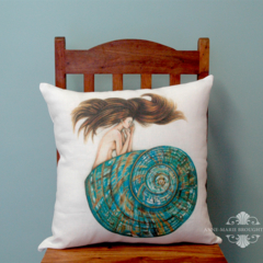 Mermaid Cushion Cover Large 50X50cm Jade Turbo Mermaid White Linen