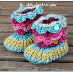 Non Slip Crochet Crocodile Stitch Baby Rainbow Slippers, Booties, 12-18 months