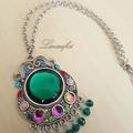 SALE 40% OFF Statement Necklace - Green,Glass,Multicolour - Large Pendant - N004