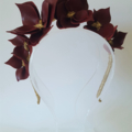 Burgundy & Gold Headband, Leather Crown,Leather Flower Headpiece, Fascinator