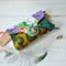 Mustard clutch bag, teal green evening purse, purple clutch wallet, phone wallet