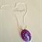 Batik Pendant Necklace - Batik Jewellery - Pink Fuchsia Pendant - Oval Pendant