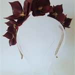 Burgundy & Gold Headband, Leather Crown,Leather Flower Headpiece, Fascinator