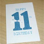 Girls age birthday card - glitter numbers