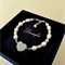 Lovely Pearl Bracelet - White, Peach - Freshwater Pearl, Crystal - Bright Silver
