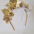 Gold Crown,Headband, Leather Crown,Facinator