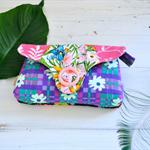 Purple pink iphone wallet brides clutch, quirky phone wallet, floral vintage