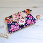 Navy blue clutch purse, bright pink, quirky evening bag, vegan phone wallet