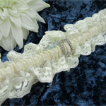 Garter - Ivory Lace with Champagne Satin and Diamante Buckle